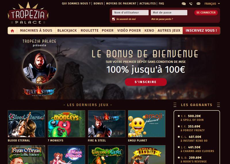 Page d'accueil du casino Tropezia Palace