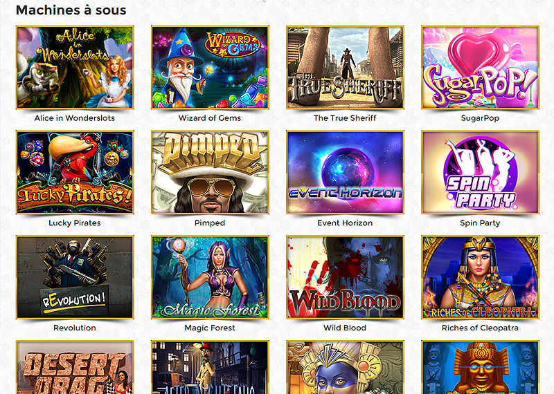 Catalogue des jeux de l'Unique Casino