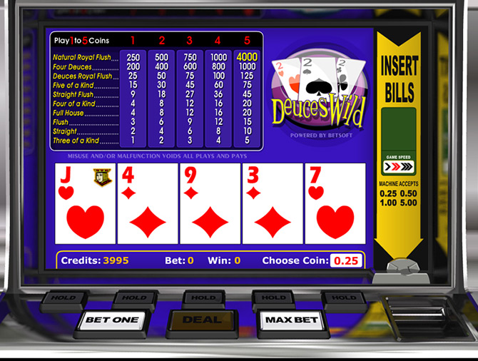 Jeux Video Poker Casino Deuces Wild Betsoft Gaming
