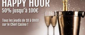 50% jusqu'à 100€ bonus les jeudis sur le Cheri Casino !