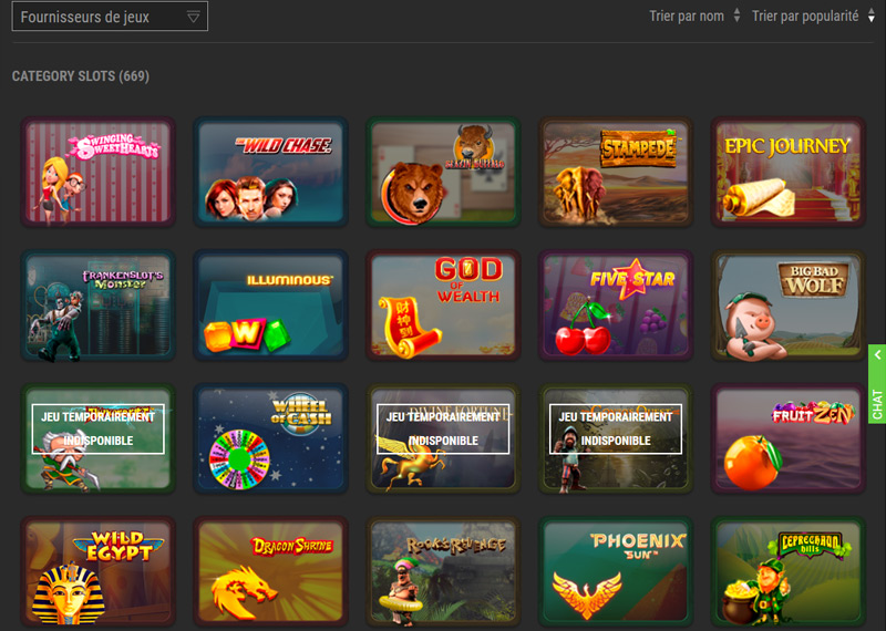 Exemples de jeux disponibles sur le casino WinOui !