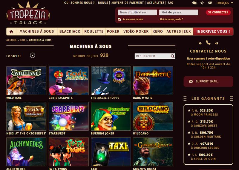 Jeux disponibles sur le Casino Tropezia Palace