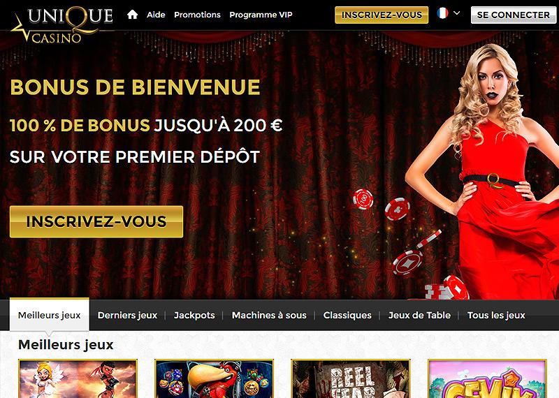 Page d'accueil de l'Unique Casino