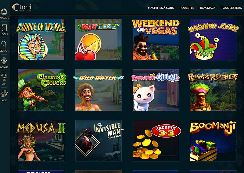 Jeux disponibles sur le Casino Cheri