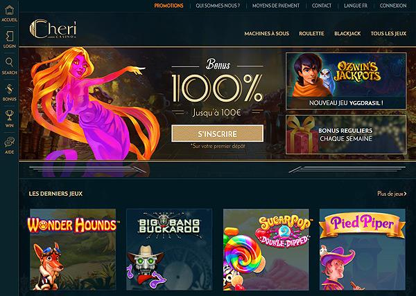 Page d'accueil du casino Cheri