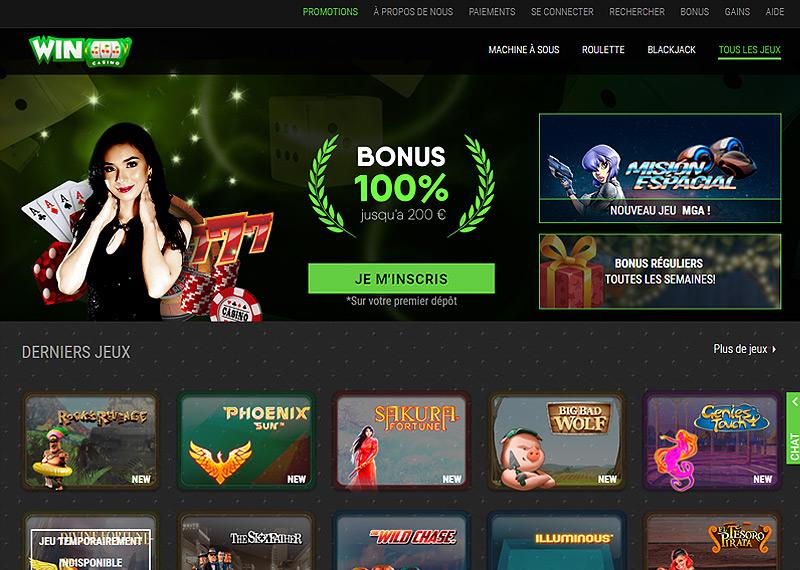 Page d'accueil du casino en ligne WinOui