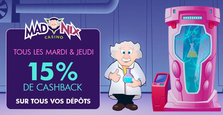 Promotion : 15% CASHBACK sur le casino Madnix !