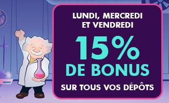 Bonus casino Madnix : 15% dépôts