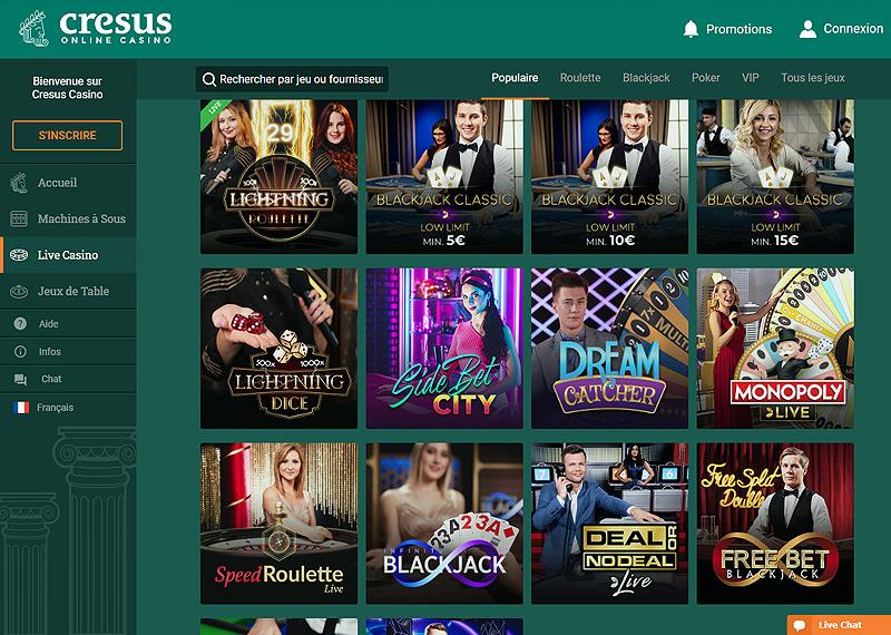 Les jeux d'argent en direct du Casino Cresus